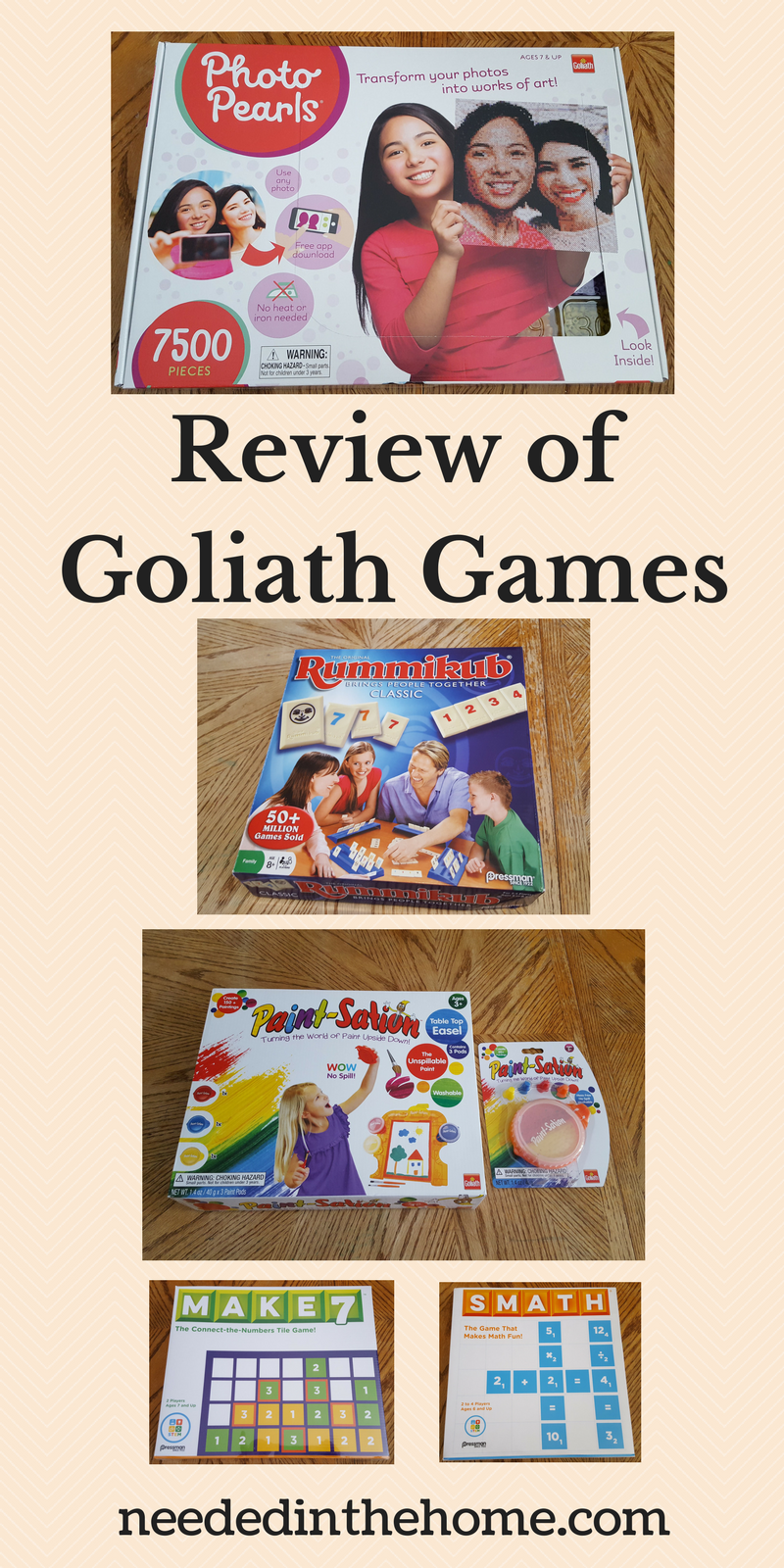 Product Review of Goliath Games - Photo Pearls Rummikub Paint-Sation Make7 Smath neededinthehome