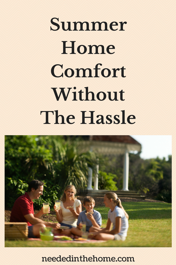 Summer Home Comfort Without The Hassle family of four drinking lemonade in backyard gazebo neededinthehome