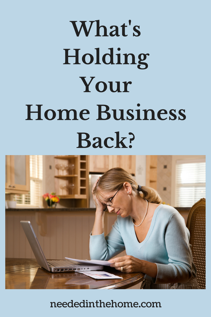 Home Business Tips / What's Holding Your Home Business Back? woman with laptop and papers evaluation of home business neededinthehome
