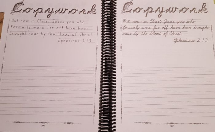 Review of Exploring Creation Physiology copywork pages in both print and cursive Ephesians 2:13