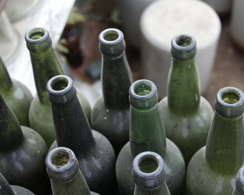Basement finds Dusty glass soda bottles need a new home in preparation for a basement conversion
