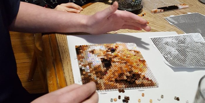 review of Goliath Games Photo Pearls a nearly completed section of a cat face