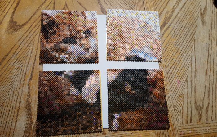 Review of Goliath Games Photo Pearls four completed sections are about to come together to form this 3D art beaded cat picture