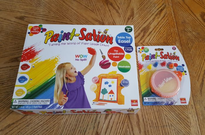 review of Paint-Sation Table Top Easel and Refill with Finger Nibs from Goliath Games