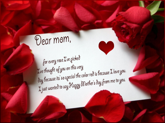 Happy Mother's Day card and rose petals Dear mom, for every rose I've picked