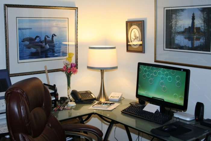 Setting up a home office pictures decorations lighting monitor ergonomic chair desk phone