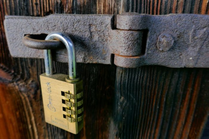 Garden Shed safety and organization tips lock on the door