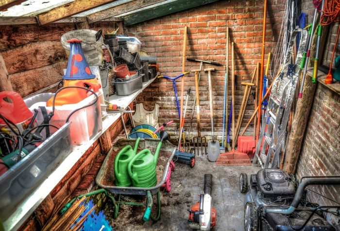 Garden Shed organization tips for a messy garden storage area