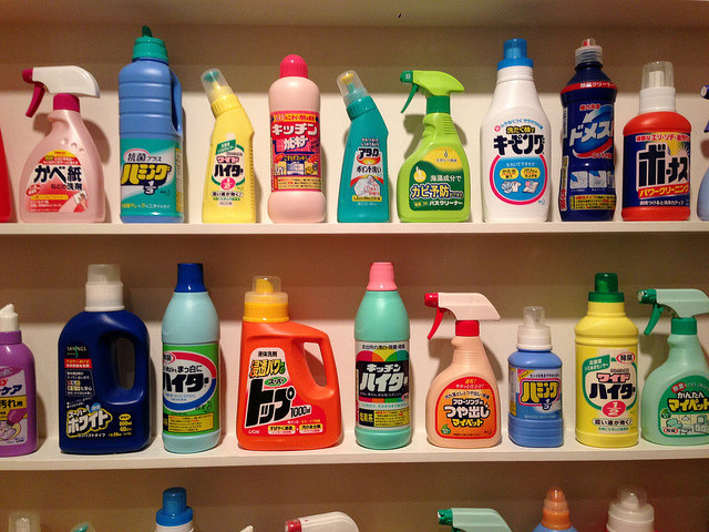 Manufacturing Your Household Cleaning Product To Be Sturdy image household cleaners on a shelf