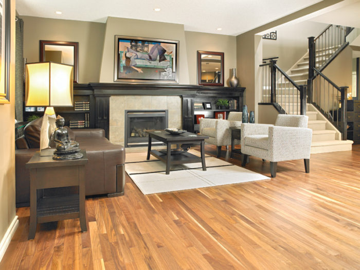 Transform your home into a paradise image living room with fireplace and hardwood floor