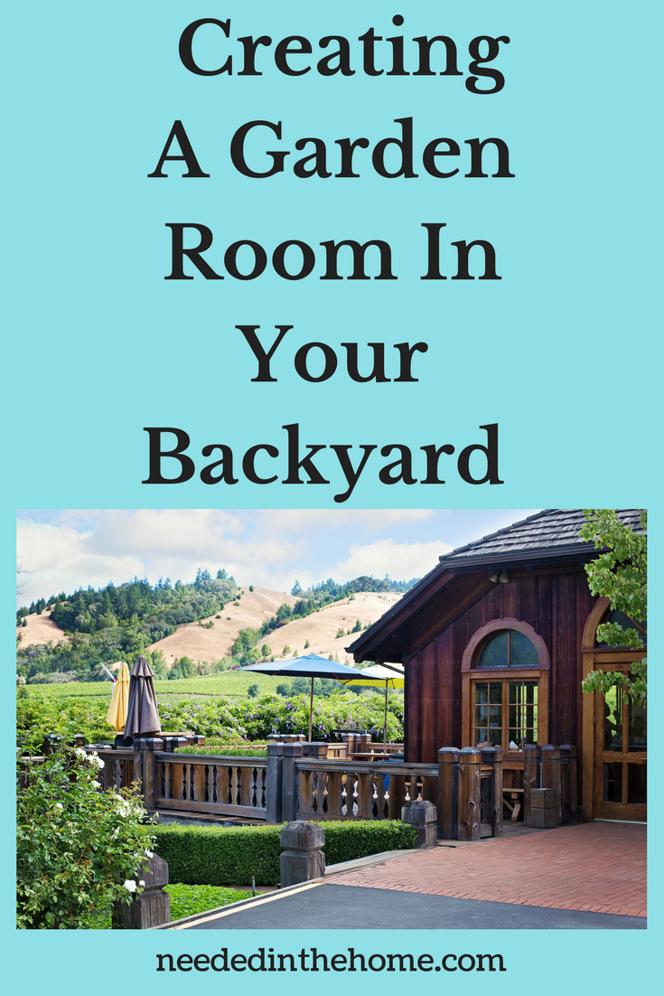 Creating A Garden Room In Your Backyard image: back door of a home deck patio garden umbrella hedges greenery neededinthehome