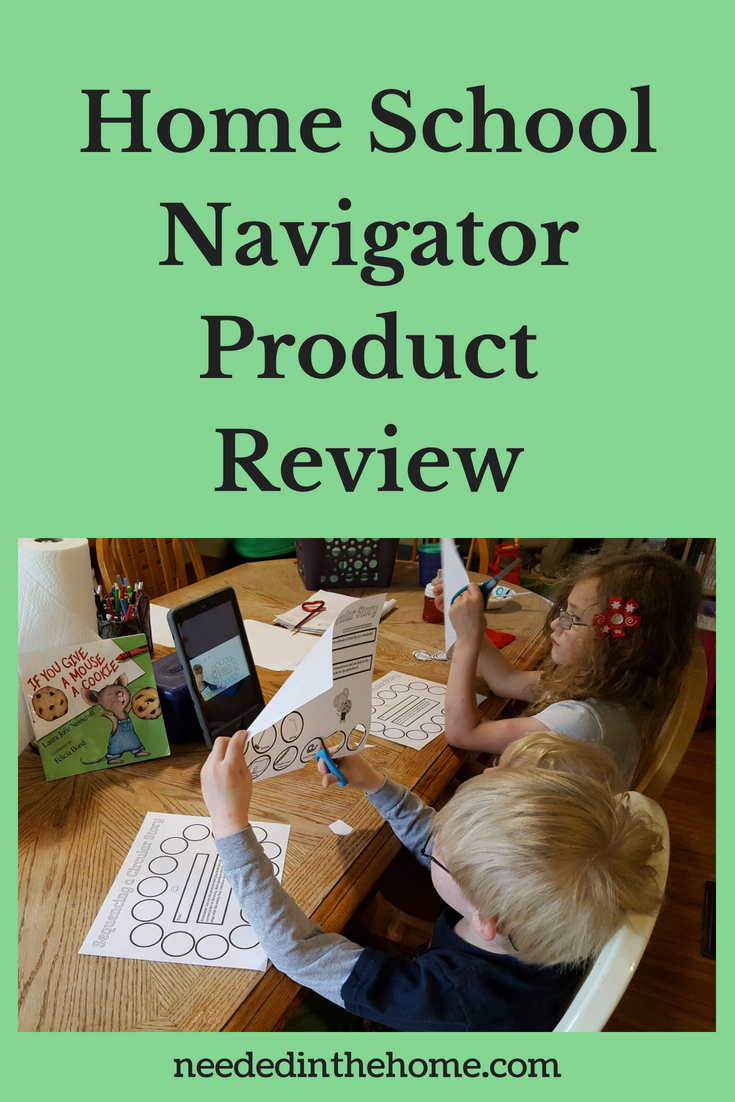 Home School Navigator Product Review image children watching video on iPad while cutting a worksheet to use in Level Red neededinthehome