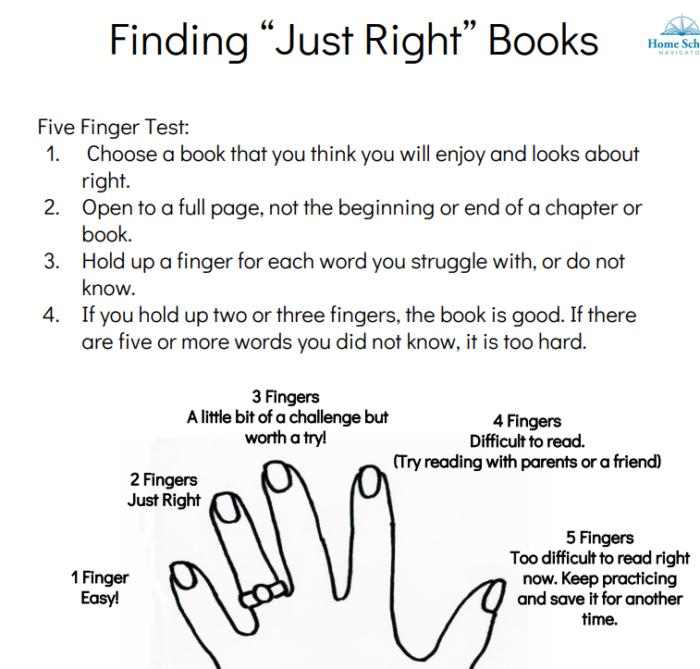 Home School Navigator Finding Just Right Books worksheet snippet Level Orange