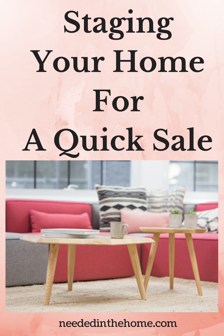 Staging Your Home For A Quick Sale image living room couch pillows coffee tables books carpet neededinthehome