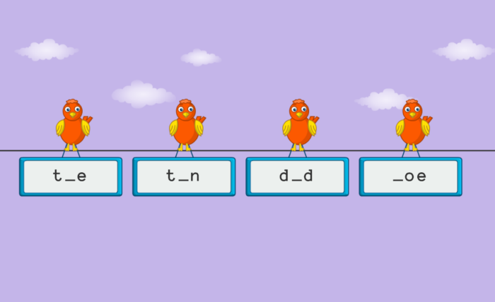 Review of ASD Reading computer screenshot of birds above word boxes to select from