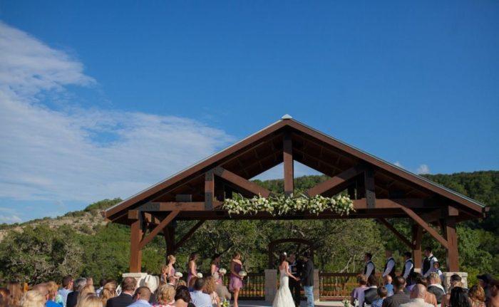 Bella Springs Wedding Venue image outdoor wedding reception under the big Texas sky