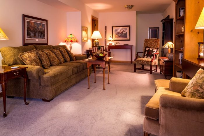 Staging Your Home - image living room minimal neutral decor fresh cleaned carpet