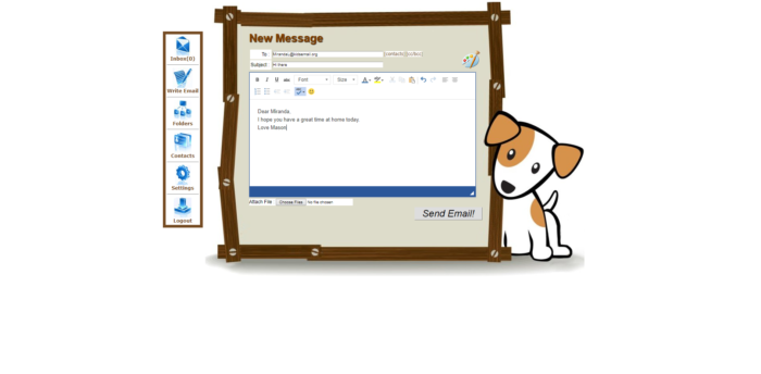 Kids email review screenshot of new message screen with a dog picture