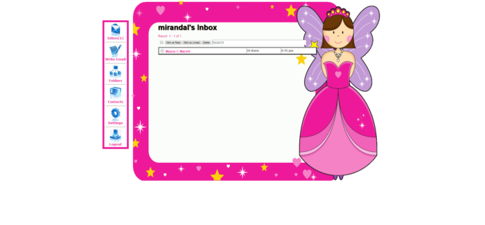 Kids Email review screenshot of princess fairy pink background for inbox