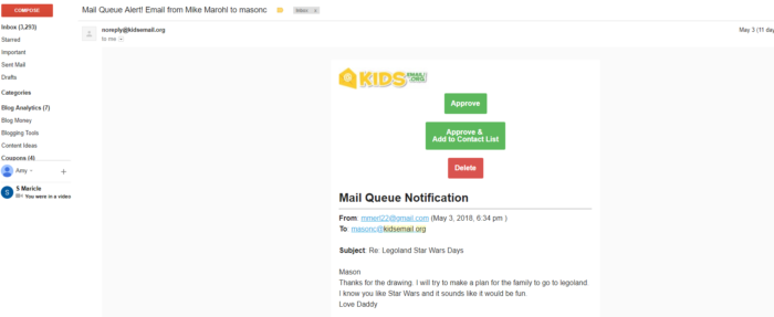 Kids Email review screenshot of a parents inbox with a message asking for permission for child to see their email