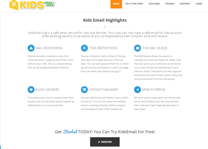 Kids email review screenshot from kidsemail.org highlights mail monitoring time restrictions mail queue block senders contact manager spam filtering try for free