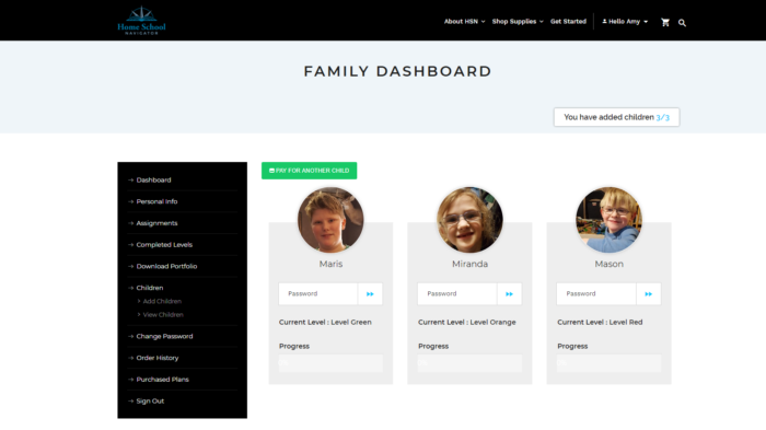 Home School Navigator Family Dashboard