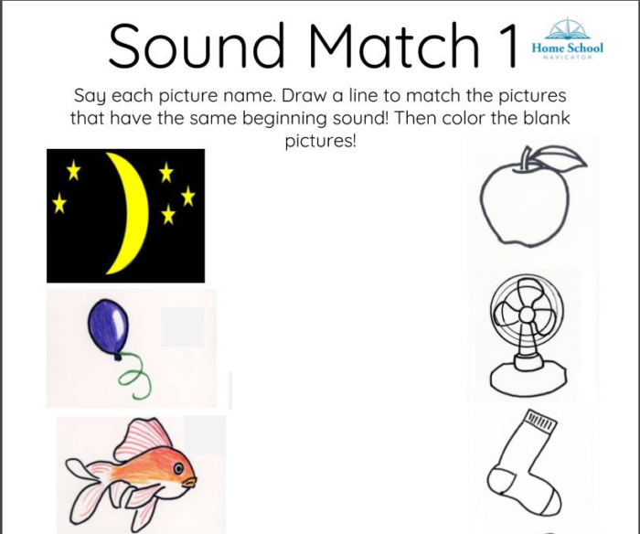 Home School Navigator screen snippet of Sound Match 1 worksheet in Level Red