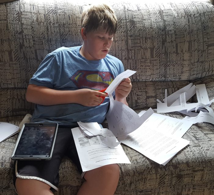 Home School Navigator image pre teen boy cuts out papers to make his interactive notebook in Level Green