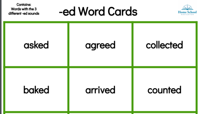 Home School Navigator Level Green -ed Word Cards snippet