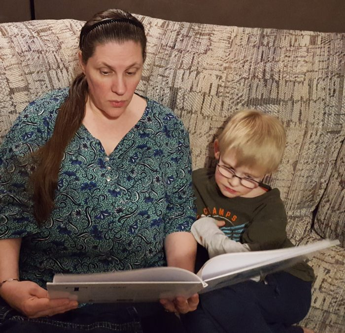 T is for Tree: A Bible ABC book review image mother reading to her son