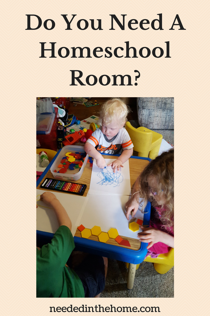 Do You Need A Homeschool Room? image young children using shapes and oil pastels to do homeschool art neededinthehome