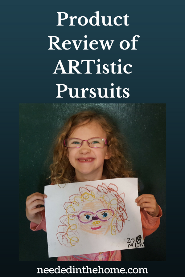 Product Review of ARTistic Pursuits art for children art for kids image girl in glasses holding a self portrait she made neededinthehome