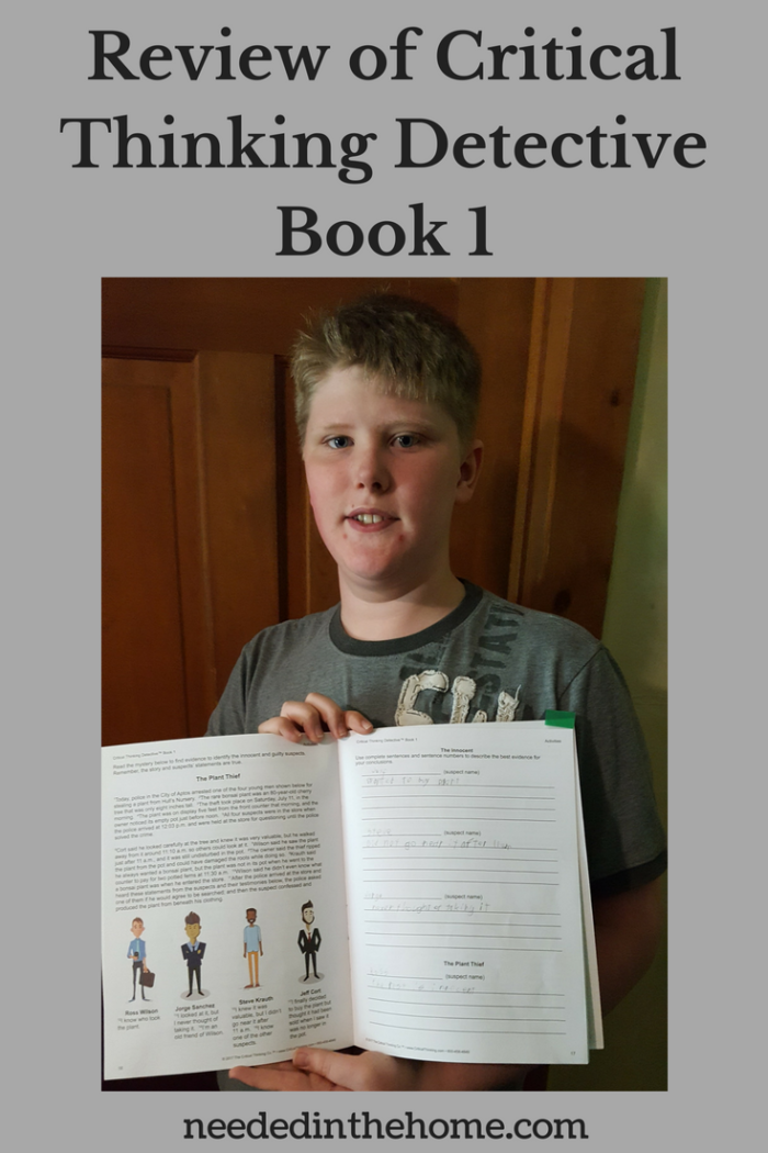 Review of Critical Thinking Detective Book 1 image teen boy holding up inside pages of book neededinthehome