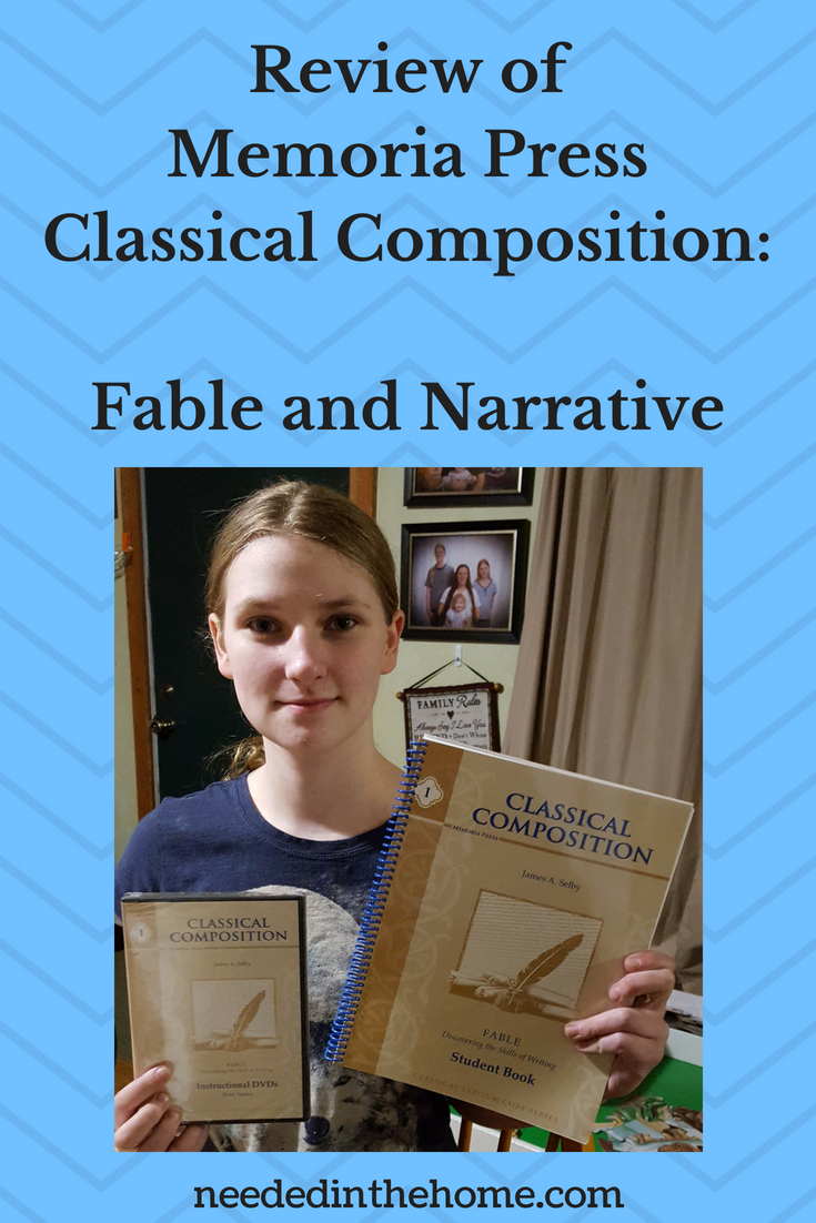Review of Memoria Press Classical Composition Fable and Narrative image teen holding book and DVD from Fable set neededinthehome