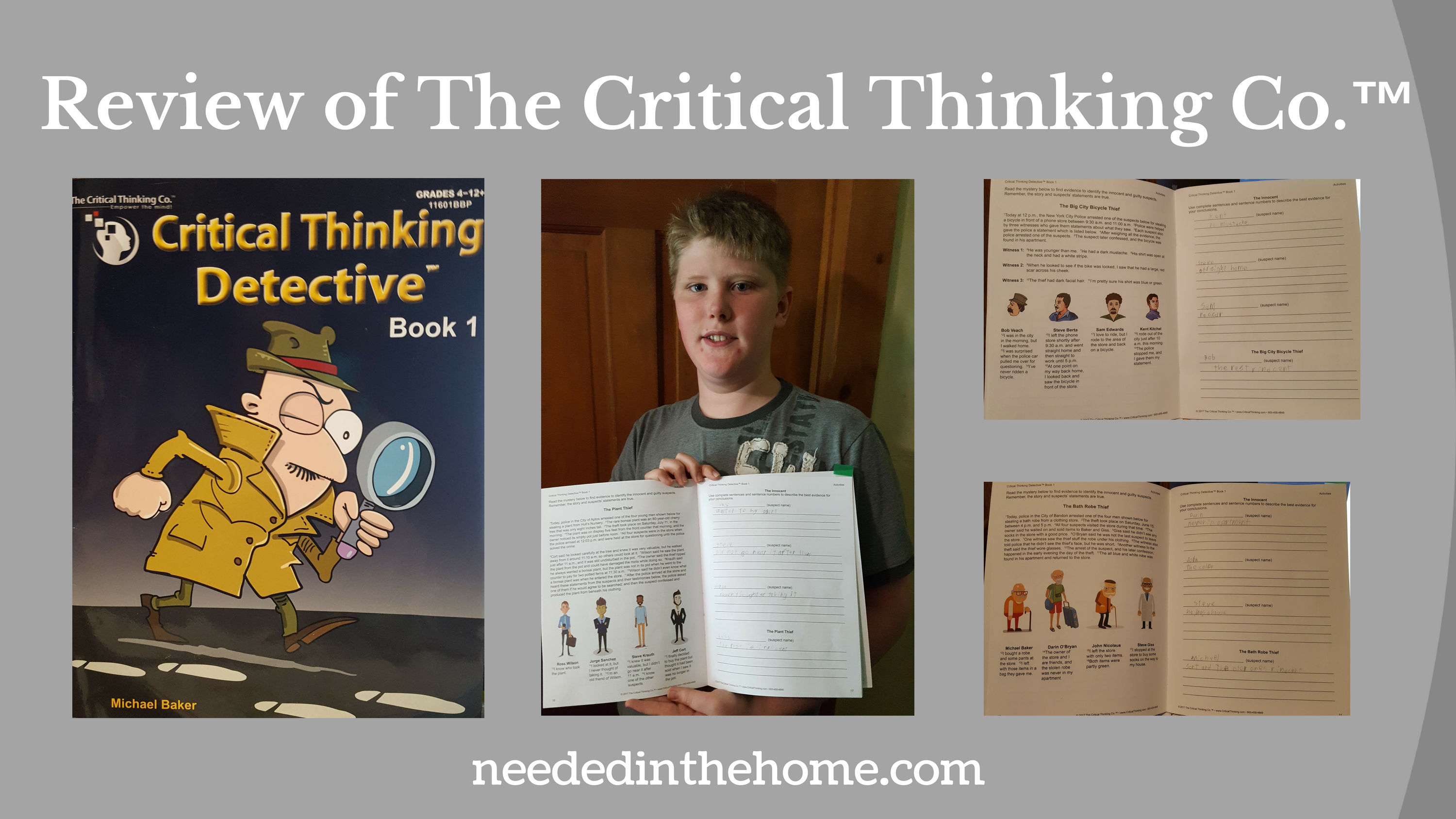 Review of The Critical Thinking Co.™ images book cover teen boy holding book open inside pages of the book neededinthehome
