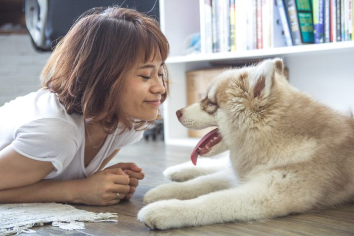 Scare off home-buyers image woman with her dog on the floor