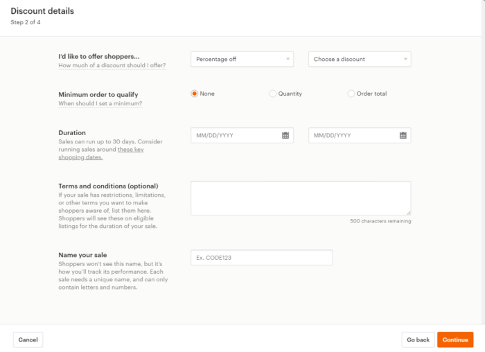 How To Start An Etsy Shop - screenshot discount details of offering shoppers a discount on etsy minimum order to qualify