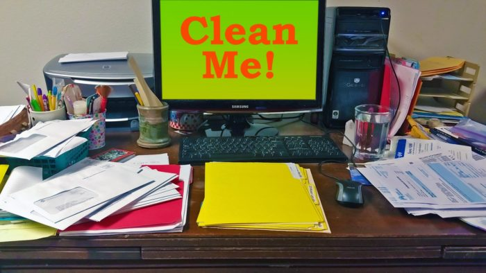 Home stays clean image messy desk Clean Me!