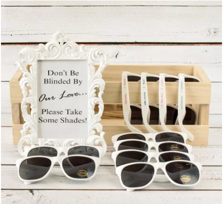 Cheap wedding ideas for summer image sign Don't Be Blinded By Our Love... Please Take Some Shades! personalized sunglasses