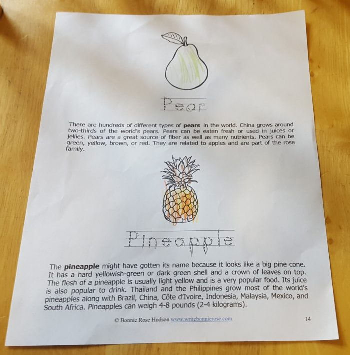 Review of WriteBonnieRose Science Collection Fruits and Vegetables worksheet pear pineapple page 14