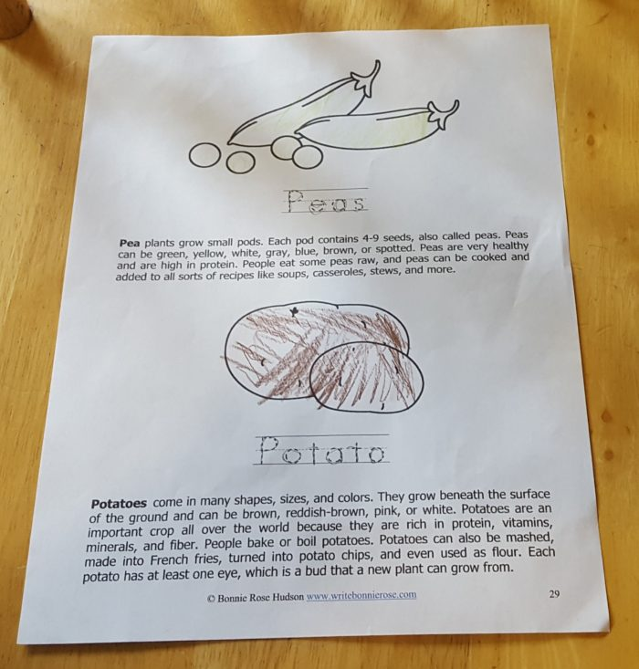 Review of WriteBonnieRose Science Collection Level 1 Fruits and Vegetables worksheet peas and potato page 29