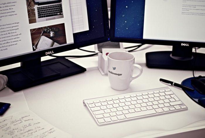 Blog look more professional two monitors keypad coffee mug mouse mousepad pen