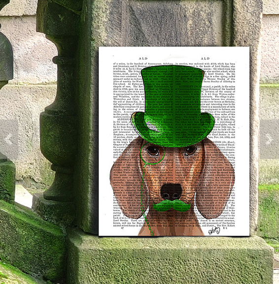 Red Dachshund Green Top Hat whimsical dog print Dog wall décor dog top hat classy dog wiener