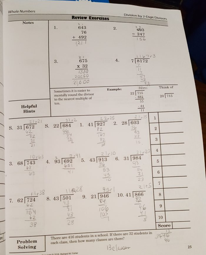 Math refresher for adults review long division problem solving sheet