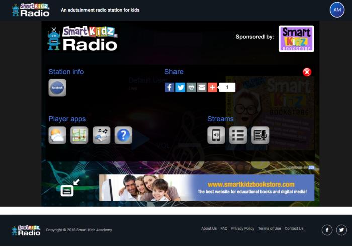 Smart Kidz Radio Menu Screen