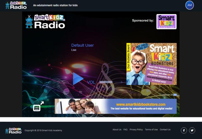 Smart Kidz Radio main screen
