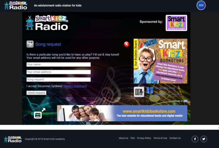 Smart Kidz Radio Song Request screen