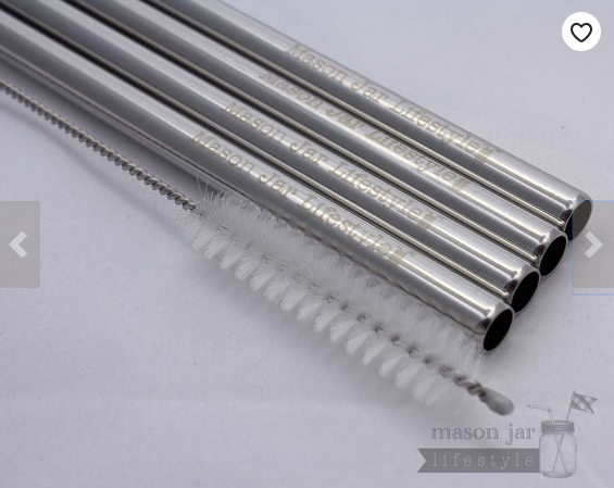 Four stainless steel straws and a glass straw cleaning brush from mason jar lifestyle