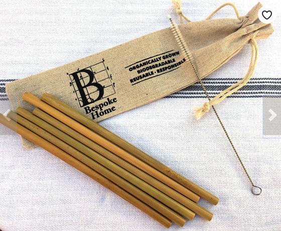 Sustainable organic bamboo straws cleaning brush and portable carrying pouch bag