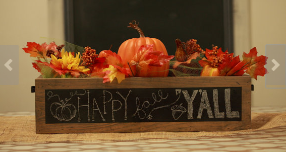 Unique home decor chalkboard table centerpiece wooden box for artificial flowers leaves pumpkins